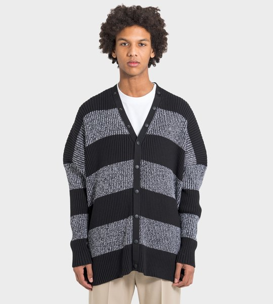 Ribbed Logo Cardigan