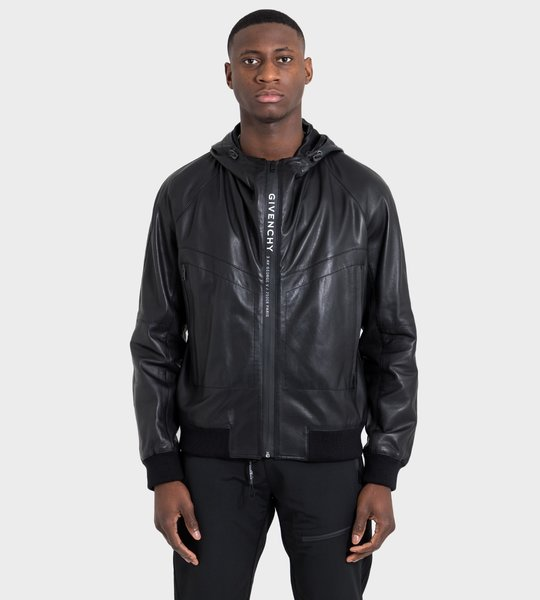 Logo Zip-Front Leather Windbreaker Black