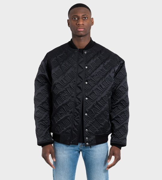 Allover Logo Quilted Bomber Black