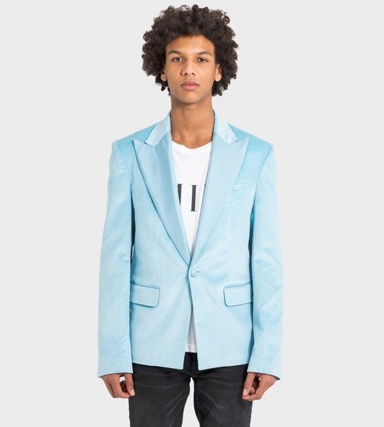 Deep V-Neck Blazer Metallic Blue