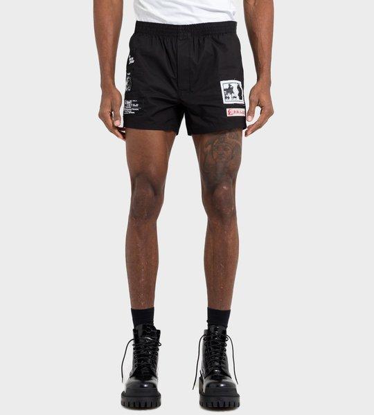 Shorts Black Logo Patch Red White