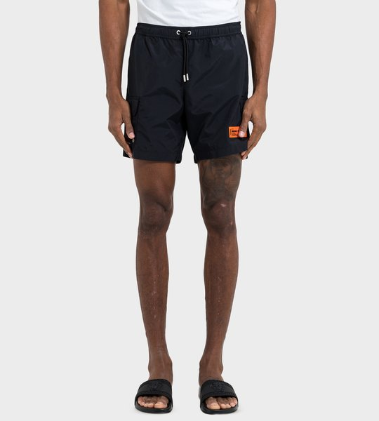 Shorts Black Orange Logo Patch