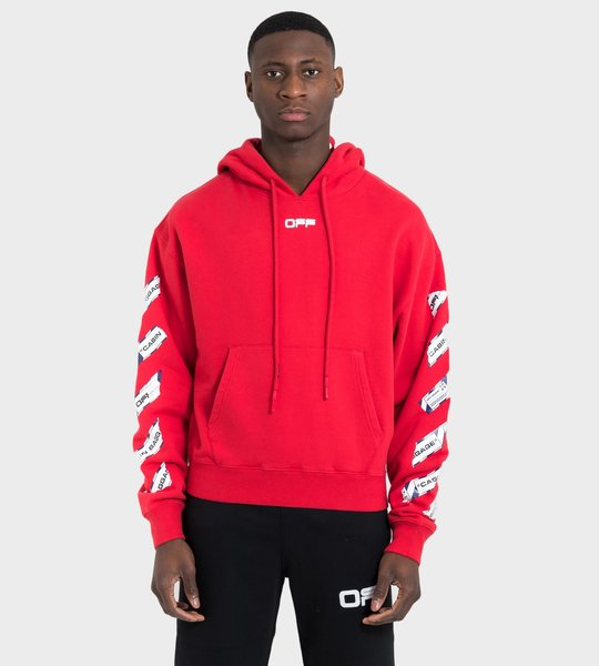 Airport Tape Over Hoodie Red