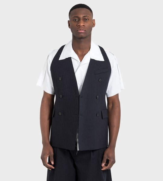 Pinstripe Double Breasted Gilet Black