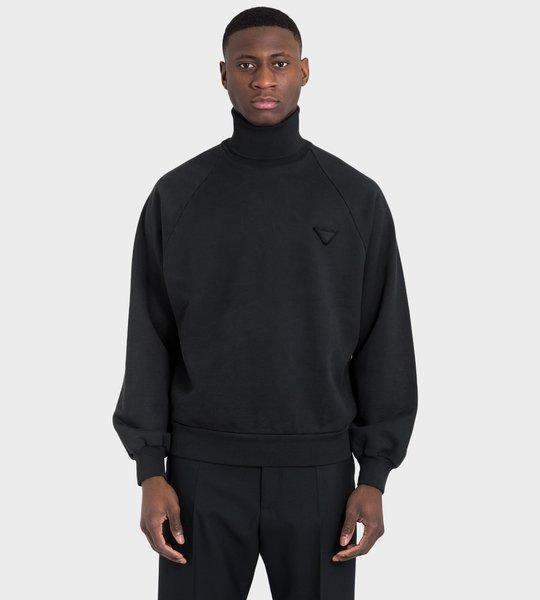 Oversized Fleece Turtleneck Sweatshirt Black