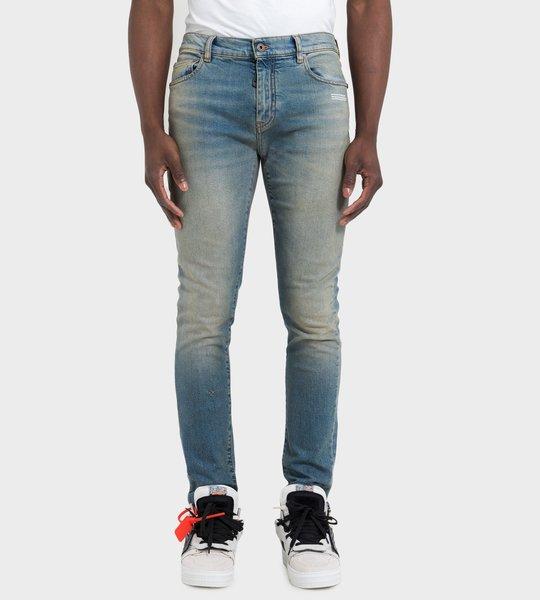 Skinny Vintage Wash Jeans Blue