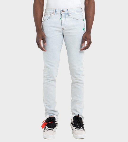 Slim Bleached Jeans Blue