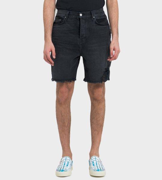 Raw Edge Denim Shorts Black