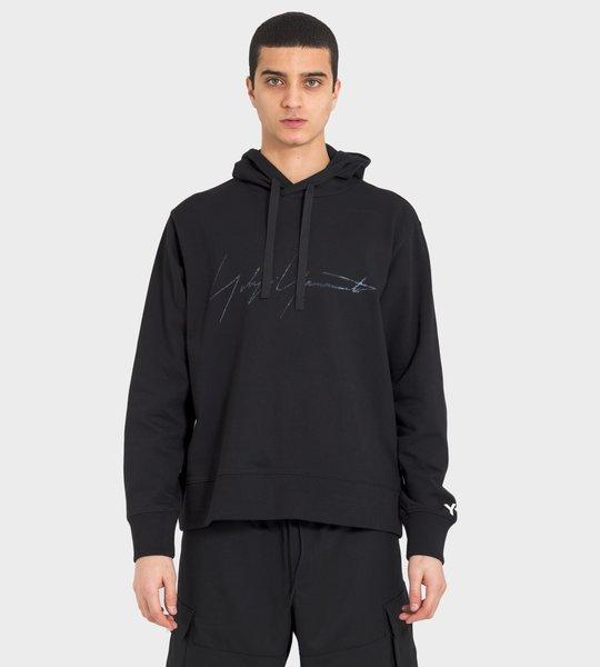 Distressed Signature Hoodie Black