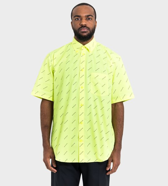 Allover Logo Short Sleeve Shirt Fluor Yellow