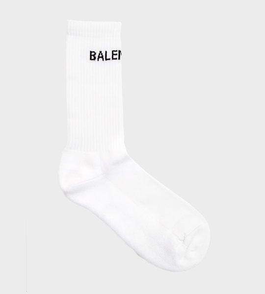 White Logo Print Socks
