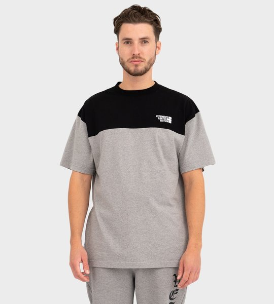 Contrast-Panel Logo T-shirt Grey