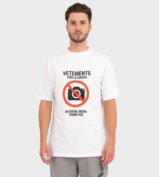 Antisocial Slogan Print T-Shirt White