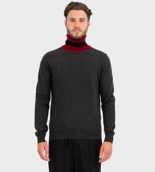 Colour Block Cashmere High-Neck Sweater Grey