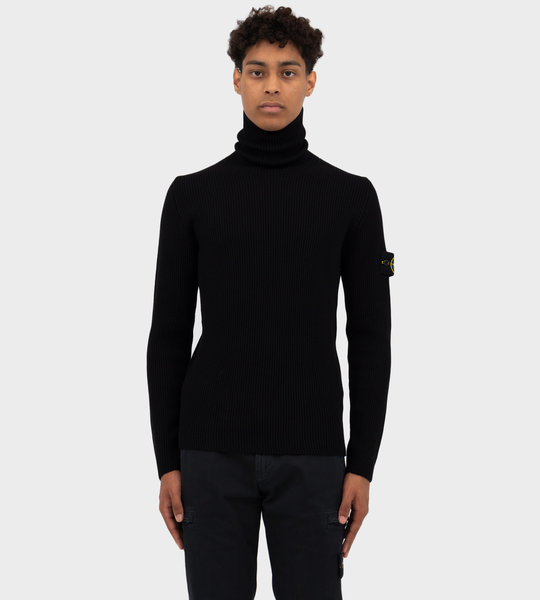 Wool Rib Knit Turtleneck Black