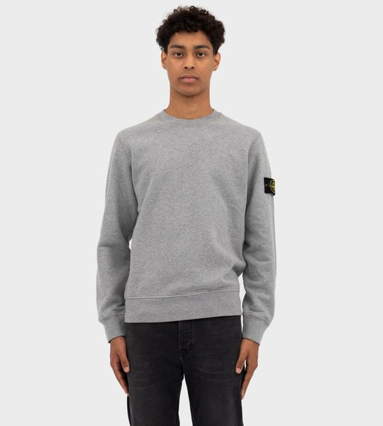 Brushed Cotton Fleece Sweater Grey