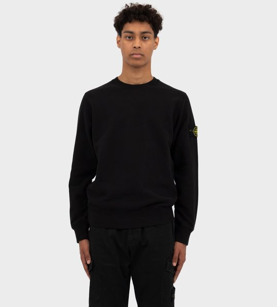 Brushed Cotton Fleece Sweater Black