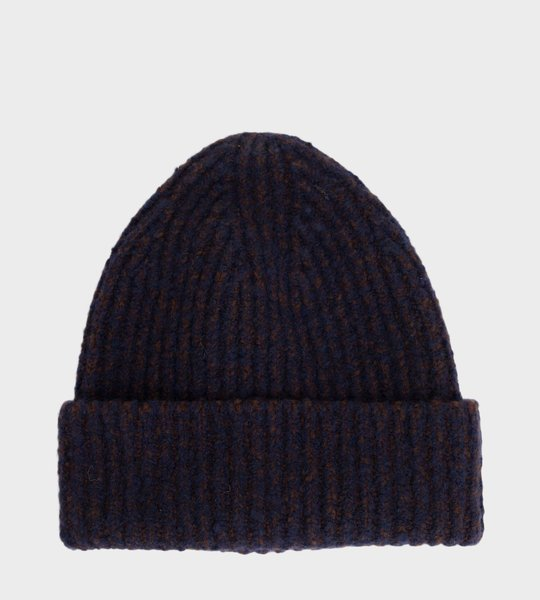Melange Ribbed Beanie Navy/Brown