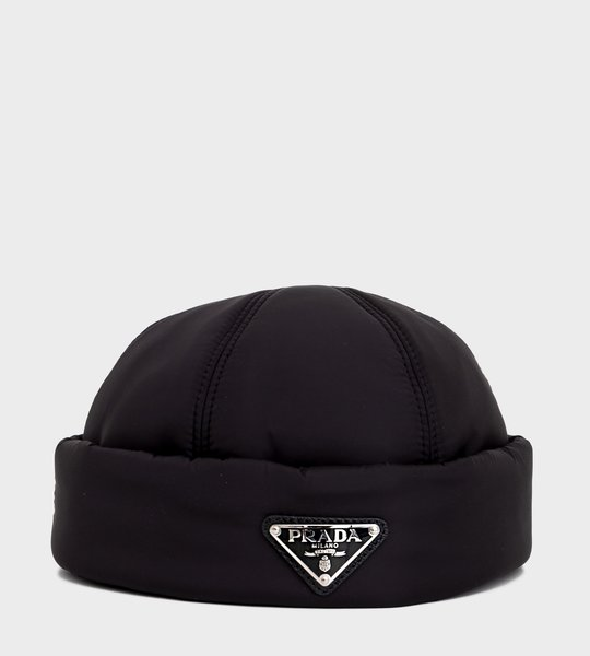 Padded Nylon Beanie Black