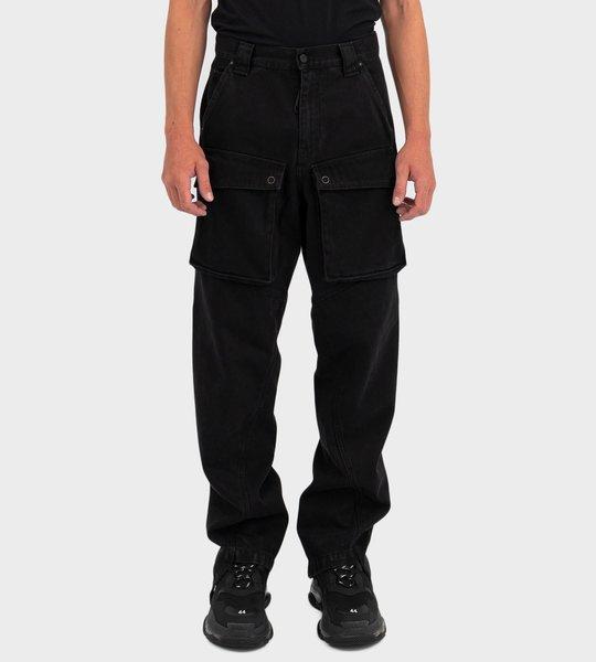 Denim Cargo Pants in Black