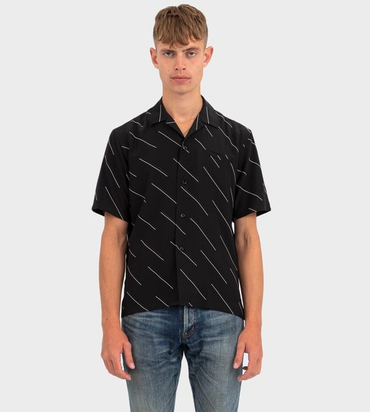 Diagonal Double Dash Silk Shirt Black