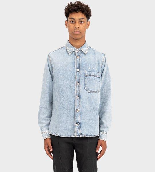 Logo-Print Long-Sleeve Denim Shirt Blue