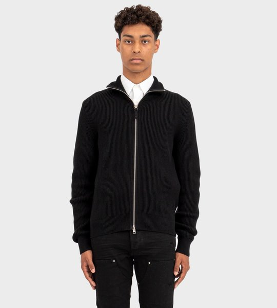 Fisherman Rib Full Zip Black
