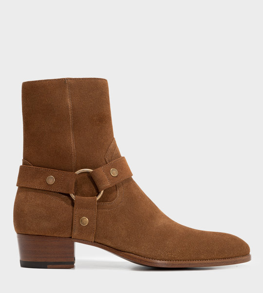 Wyatt Harness Boots In Suede Noix