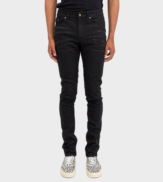 Skinny Jeans In Silver-Coated Black Stretch Denim