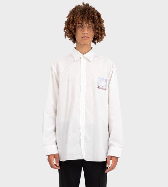 Oversized Polaroid Detail Shirt White