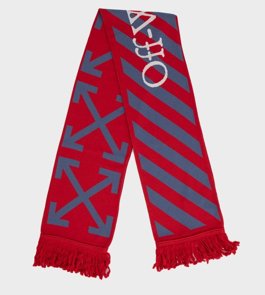 Logo Embroidered Scarf Red