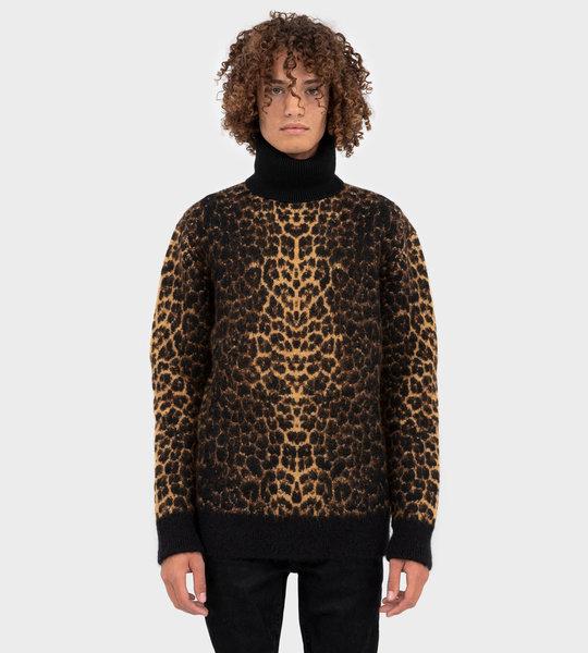 Leopard Print Roll Neck Jumper Knitwear