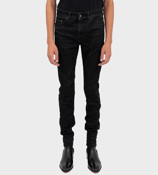 Coated Finish Skinny Jeans Black