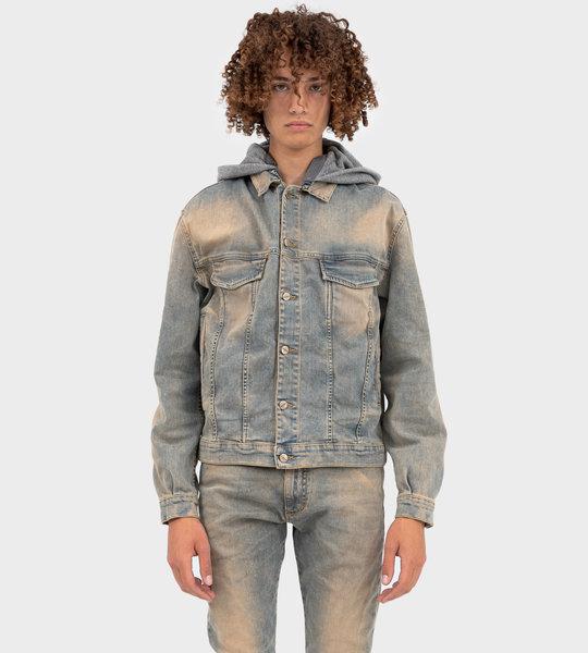 Hooded Denim Jacket Pale Blue