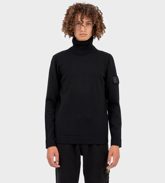 Shadow Project Ribbed Wool Turtleneck Jumper Black