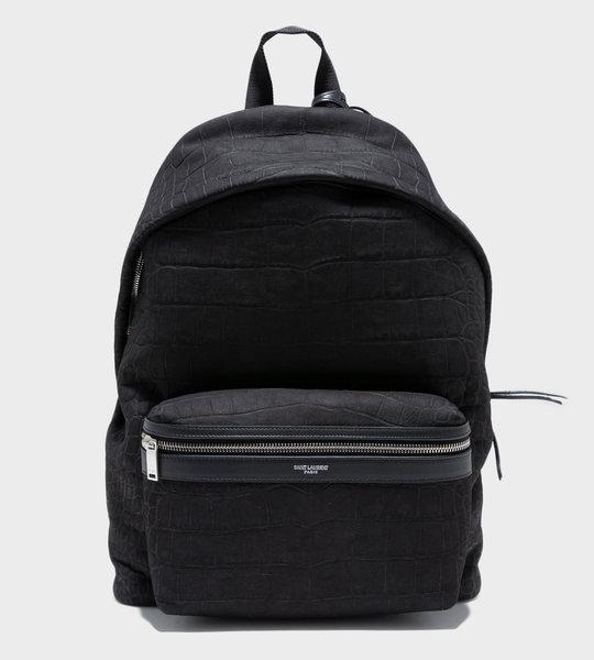 City Backpack In Crocodile-Embossed Nubuck Black