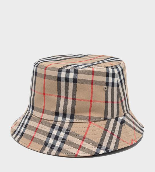 Vintage Check Cotton Blend Bucket Hat