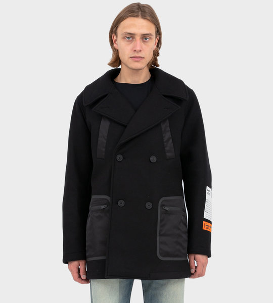 Wool and Nylon Coat Black