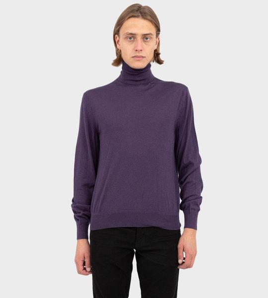 Polyester Silk Vanise Roll Neck Knit Lavender