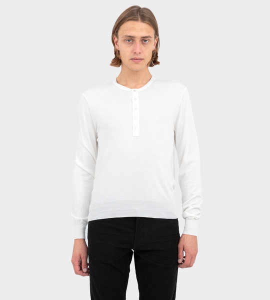 Ribbed Cotton Henley White