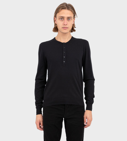 Ribbed Cotton Henley Black