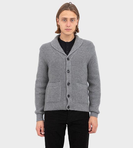 Shawl-Collar Cardigan Grey