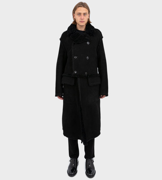 Double-Breasted Shearling Lining Coat Black