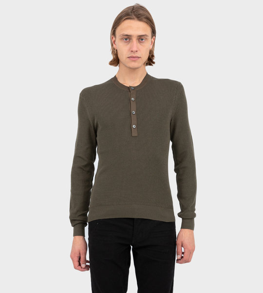 Silk Blend Ribbed Henley Sweater Military