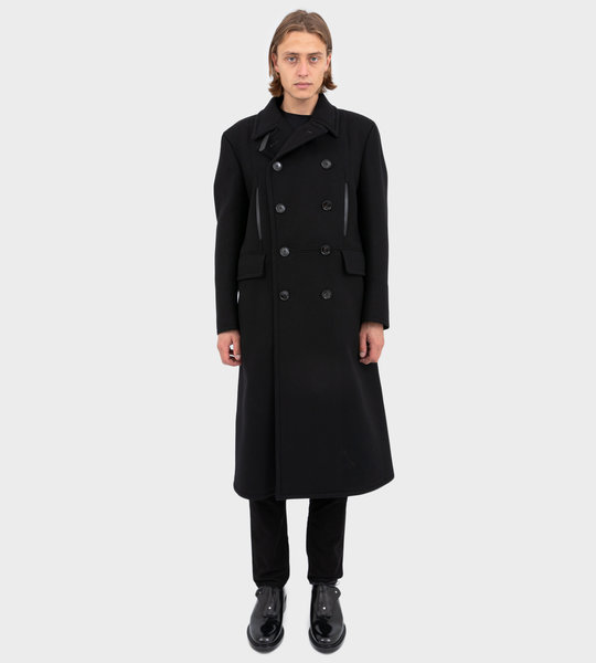 Double Breasted Long Shearling Coat Black