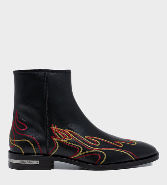 Western Flame Boots Black