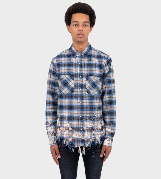 Bleached Flannel Shirt Blue