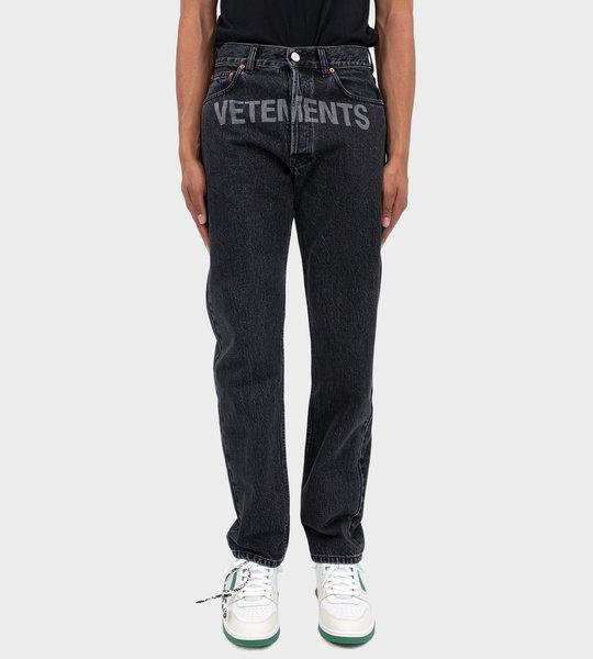 Washed Laser Logo Jeans Black