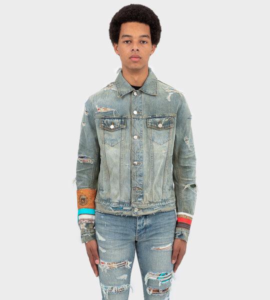 Indigo Art Scarves Patch Jacket Indigo