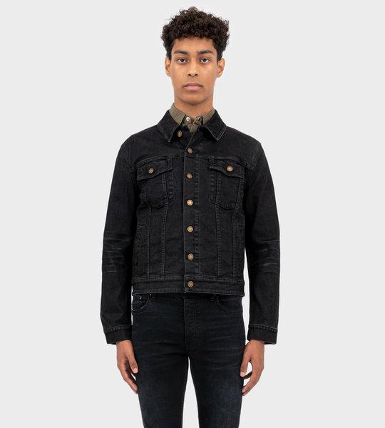 Lightly Coated Stretch Denim Jacket Black